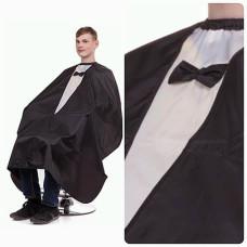 Пеньюар Алекс-стиль Мужской черный со вставкой (с черной бабочкой)
