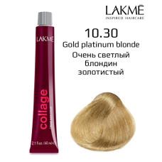 10/30 Белокурый платиновый золотистый крем-краска для волос 60 мл Collage Lakme