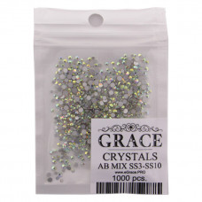 Crystal AB Стразы 1000 шт. MIX SS3,4,5,6,8,10