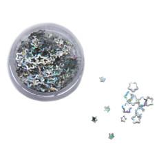 Звезды 3D серебро голографические