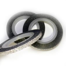 Лента для декора с глитером серебро