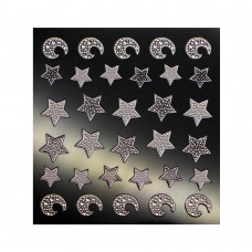 3D слайдер для дизайна ногтей Shiny Nail Applique - Dazzling Decoration  - Moon Star