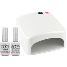 Набор лампа 818 White UV 36W + База + Топ Grace 10 мл