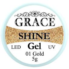 Фольгированный гель Grace SHINE 5 g, Gold