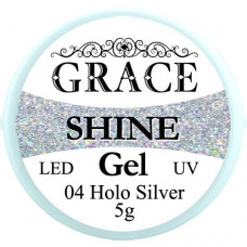 Фольгированный гель Grace SHINE 5 g, Holo Silver