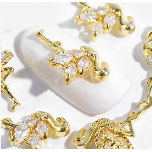 3D брошь Фламинго для дизайна ногтей Lpnails золото