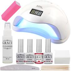Набор для покрытия ногтей гель-лаком Старт + лампа SUN 5 UV/LED 48W White
