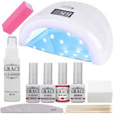 Набор для покрытия ногтей гель-лаком Старт + лампа SUN 1S UV/LED 48W White