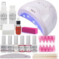 Набор для покрытия ногтей гель-лаком Профи + лампа SUNone UV/LED 48W White