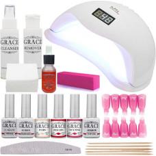 Набор для покрытия ногтей гель-лаком Профи + лампа SUN 5 UV/LED 48W White