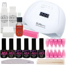 Набор для покрытия ногтей гель-лаком Ara Профи + лампа SUN X Plus 120W UV/LED