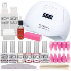 """Набор для покрытия ногтей гель-лаком """"Профи"""" + лампа SUN X Plus 120W UV/LED"""