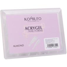 Верхние формы миндаль Komilfo Acry Gel Top Nail Forms 120шт